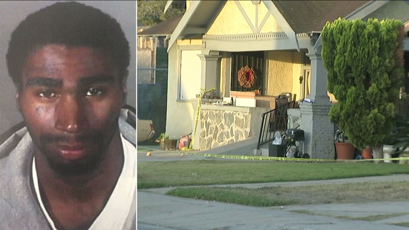 Lataz Gray, 22, is shown in an undated photo alongside the crime scene of a fatal stabbing in Jefferson Park.