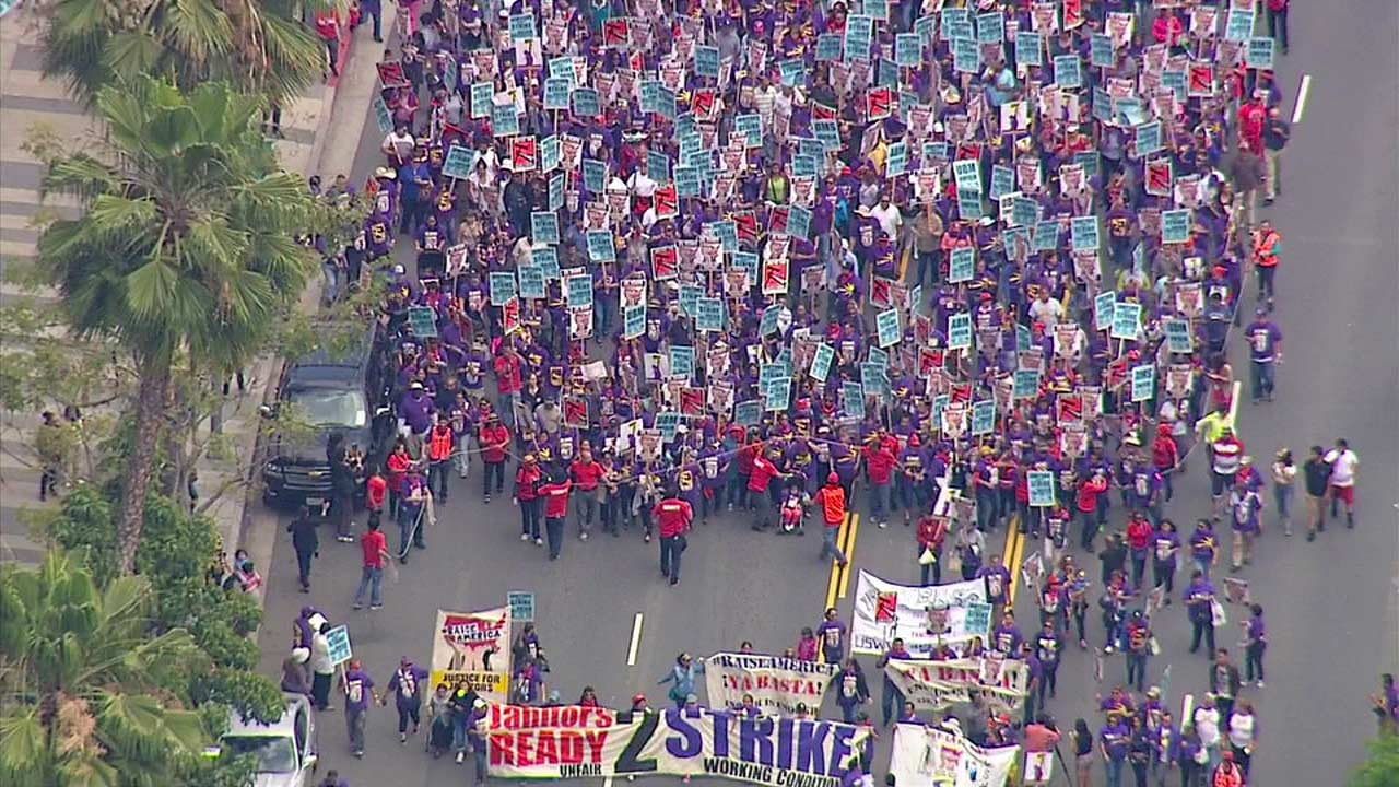 Janitors filled the streets of downtown Los Angeles for a rally on Friday, April 29, 2016.