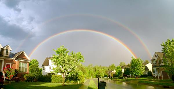 "<div class=""meta image-caption""><div class=""origin-logo origin-image wtvd""><span>WTVD</span></div><span class=""caption-text"">A double rainbow just before 7 p.m. in Apex. (ABC11 Eyewitness)</span></div>"