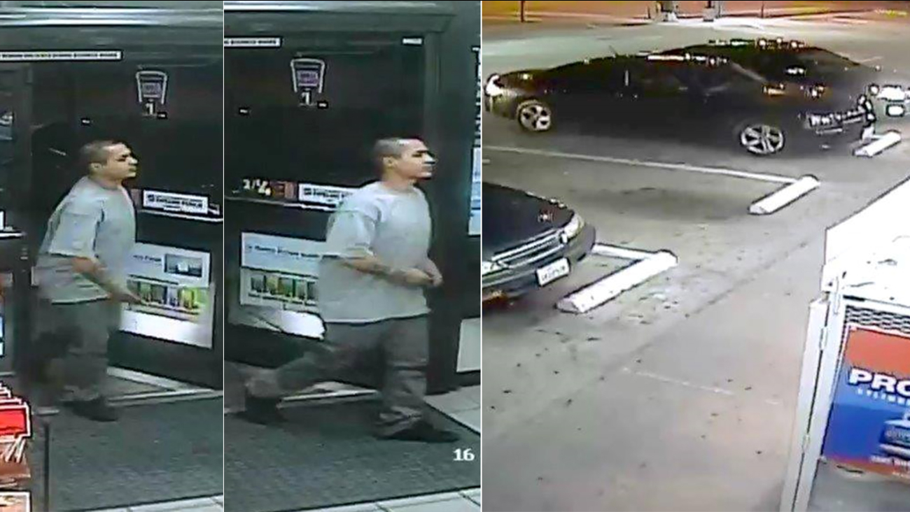 Whittier police released these surveillance photos of a male suspect wanted in connection to an alleged road rage shooting on Saturday, April 17, 2016.