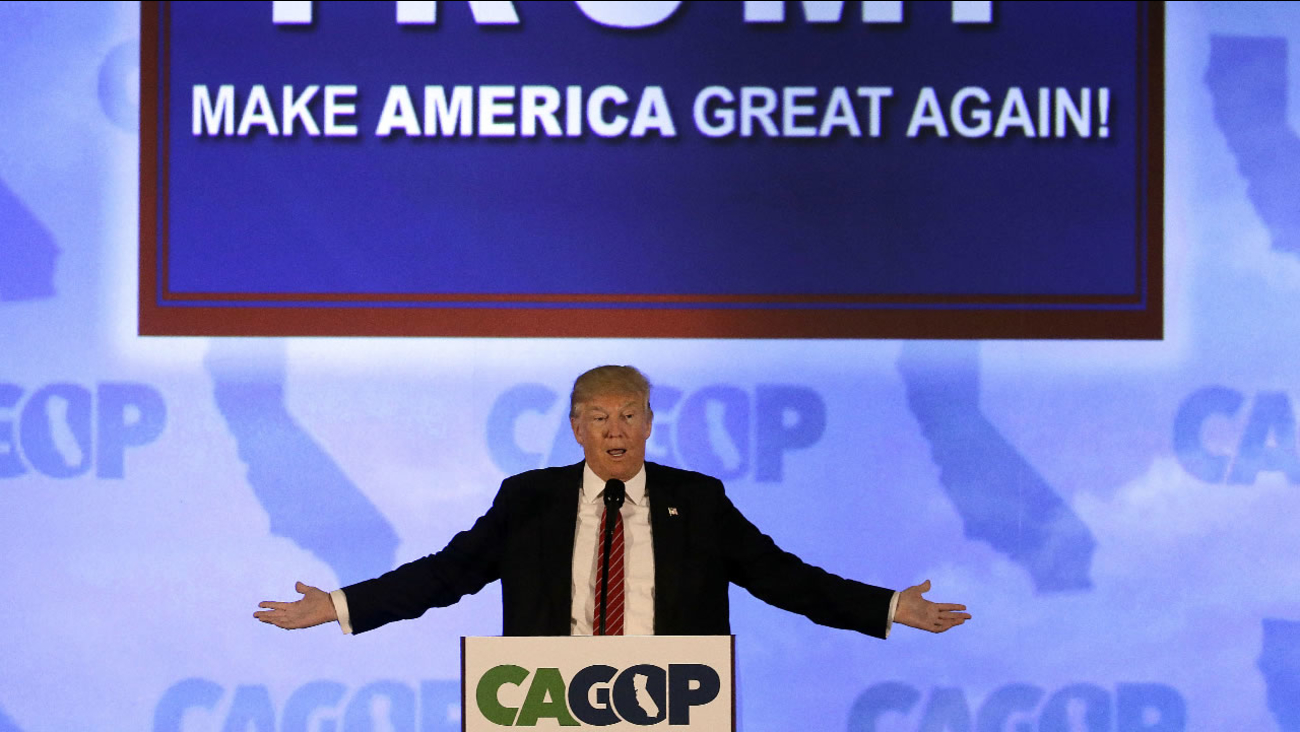 Republican presidential candidate Donald Trump speaks at the California Republican Party 2016 Convention in Burlingame, Calif., Friday, April 29, 2016.