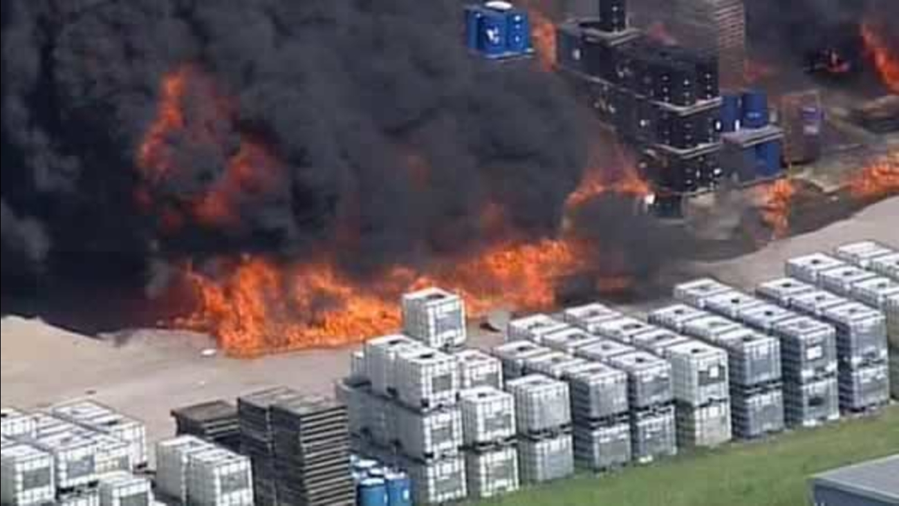 A fire at a warehouse complex in Houston has sent towering plumes of black smoke into the air in Houston on Thursday, May 5, 2016.