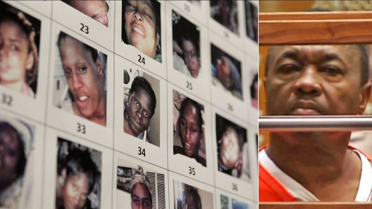 Lonnie Franklin, known as the 'Grim Sleeper' serial killer, is seen in court. Photos of victims of the convicted killer are seen on the left.