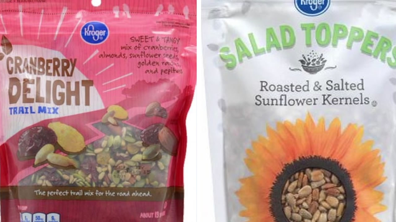 This image shows sunflower seed products that are subject to a massive recall after listeria was detected in some sunflower seeds.