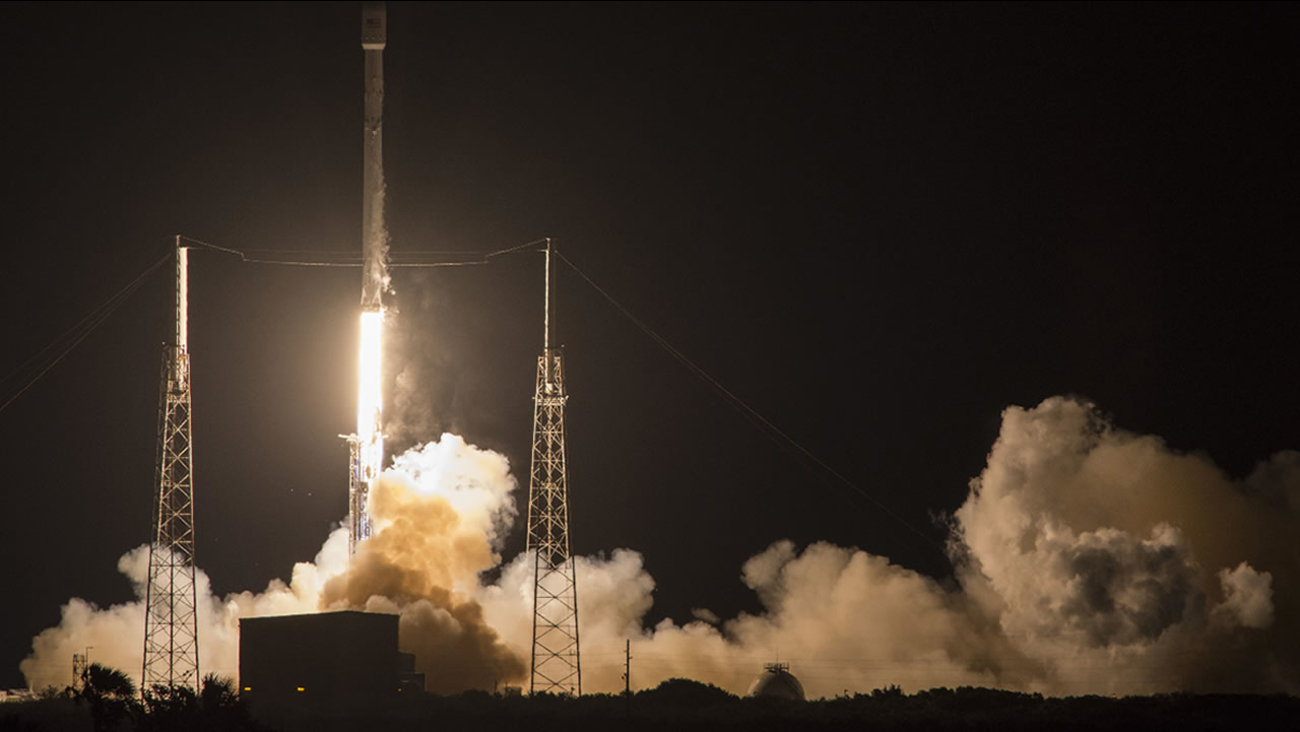 SpaceX's Falcon 9 rocket launches the JCSAT-14 communications satellite at Cape Canaveral, Fla, early Friday, May 6, 2016.