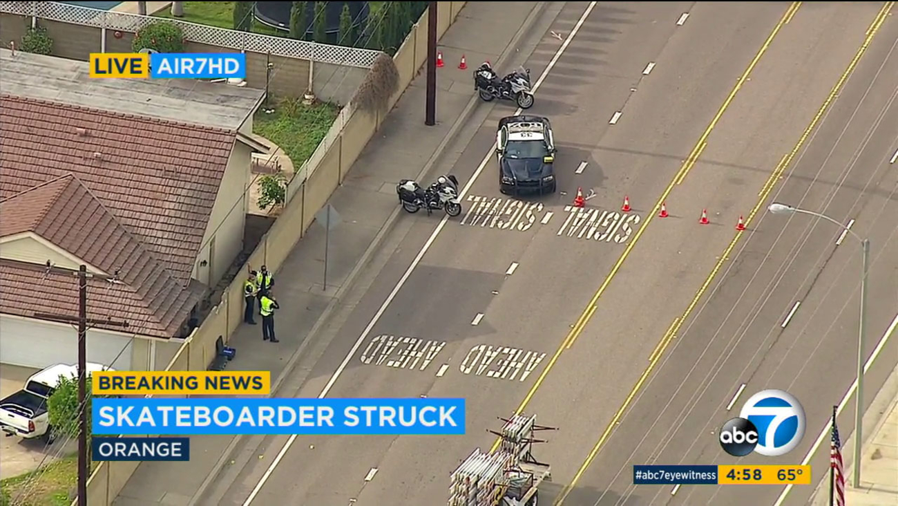 A skateboarder is in critical condition after being struck by a car in Orange.