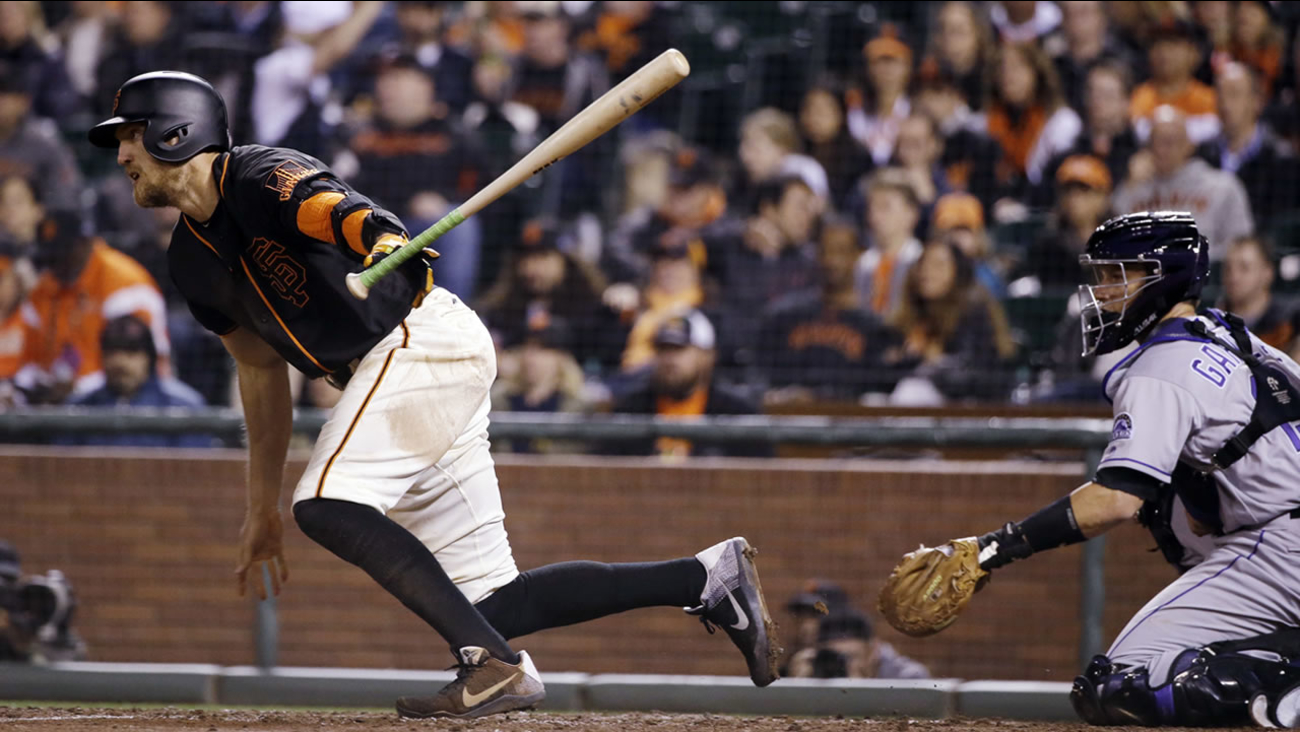 San Francisco Giants' Hunter Pence drives in a run with a single during the fifth inning of a game against the Colorado Rockies on May 6, 2016, in San Francisco. (AP Photo/Marcio Jose Sanchez)