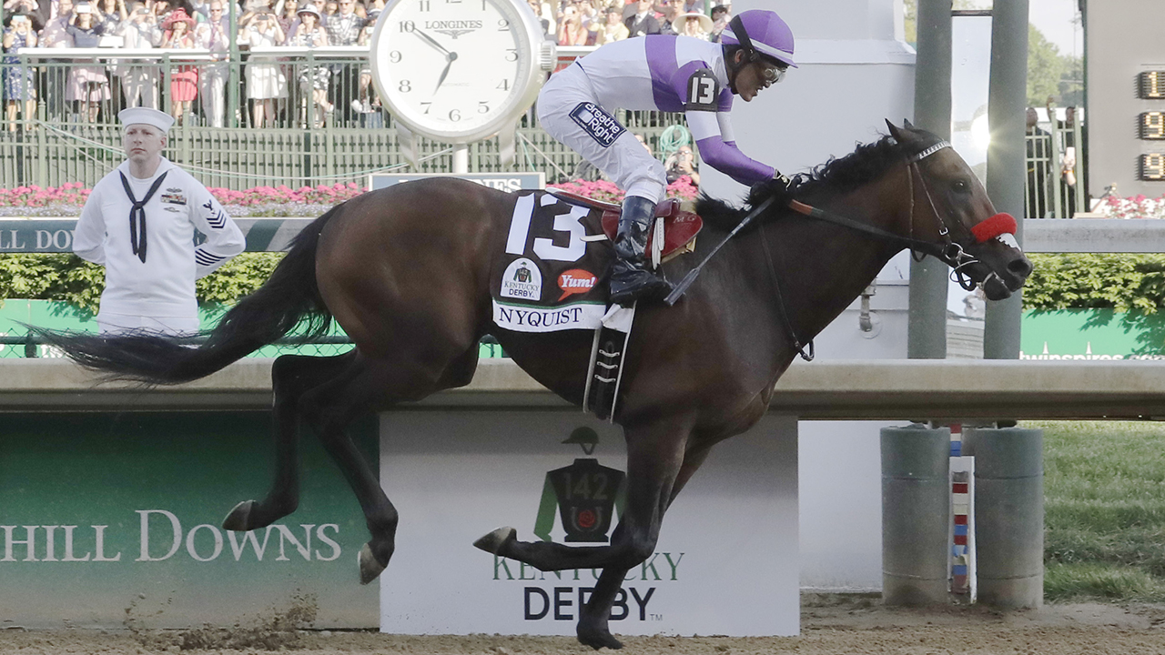 Mario Guitierrez rides Nyquist to victory during the 142nd running of the Kentucky Derby horse race at Churchill Downs Saturday, May 7, 2016, in Louisville, Ky.