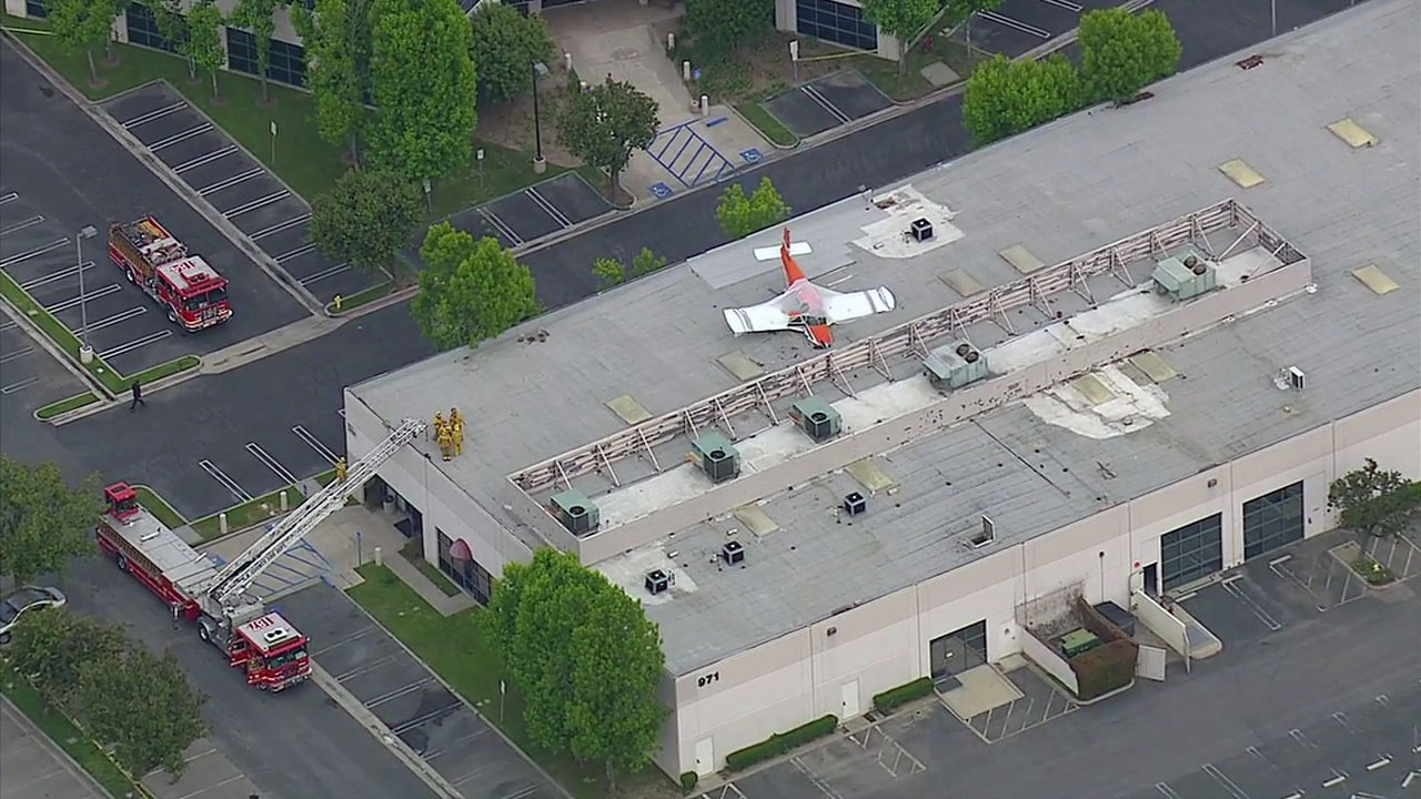 A single-engine plane landed on a building in the 900 block of Corporate Center in Pomona on Sunday, May 8, 2016, according to the Los Angeles County Fire Department.