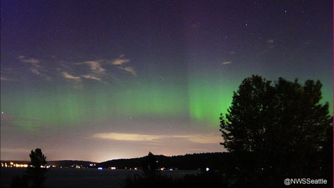 The National Weather Service shot this image of the northern lights over Seattle on May 8, 2016.