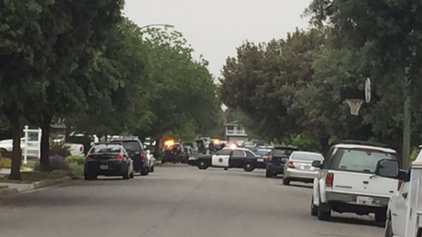 Police are on the scene of an officer-involved shooting in San Jose, Calif. on Wednesday, May 11, 2016.