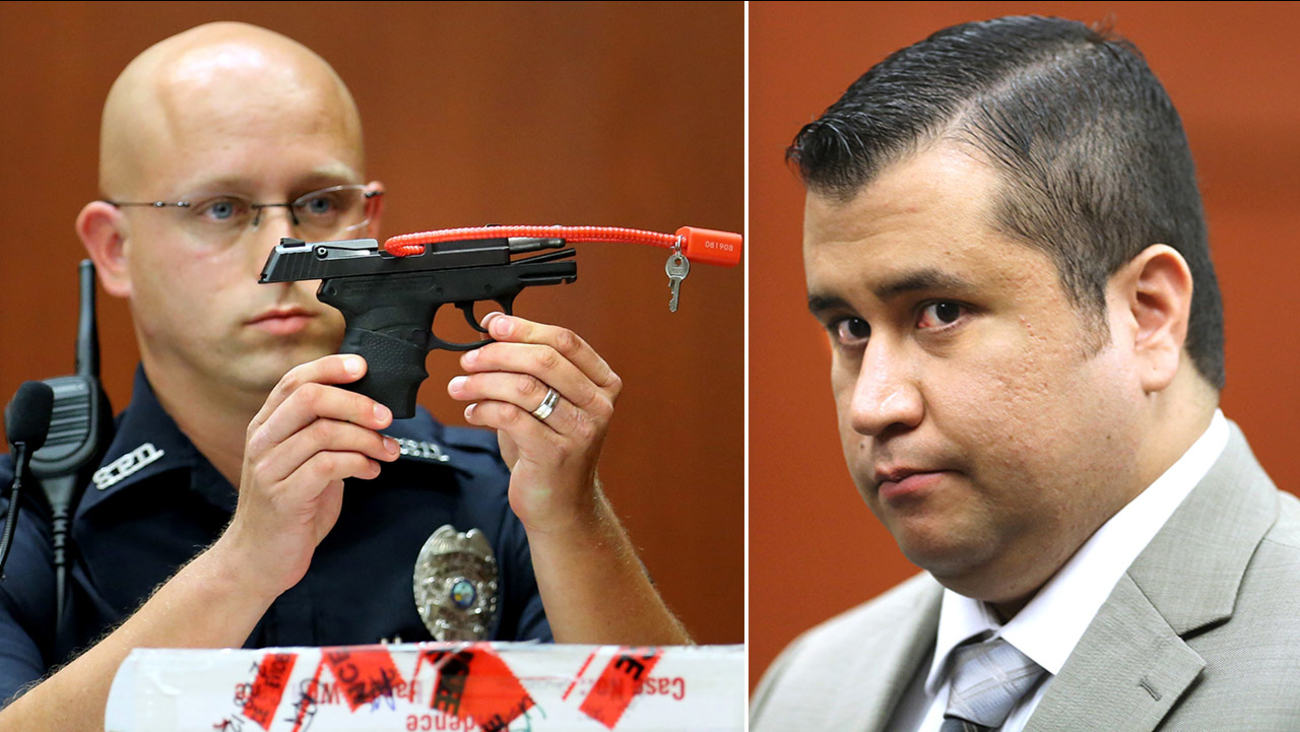 A Sanford police officer holds up the gun that was used to kill Trayvon Martin (left) and file photo of George Zimmerman from July 9, 2013 (right).