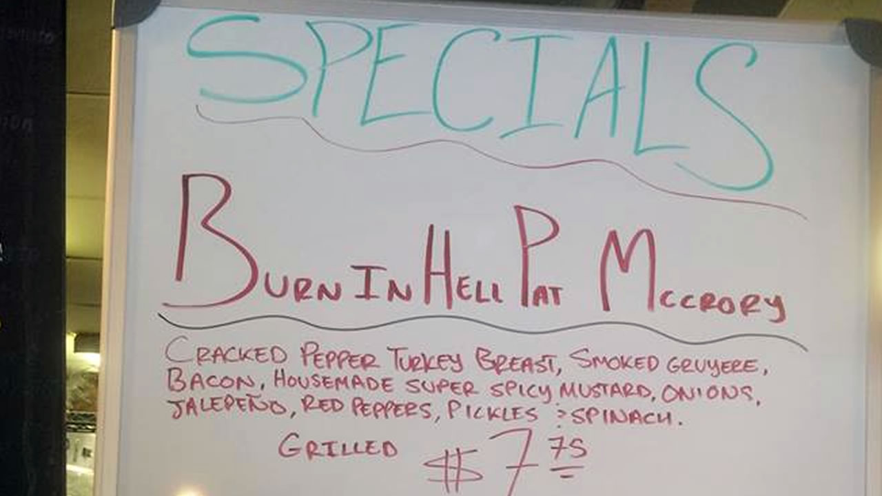 "The ""Burn in Hell Pat McCrory"" sandwich (image courtesy Common Market deli)"