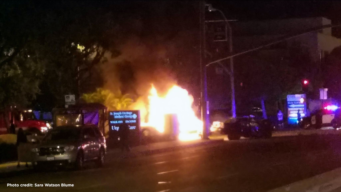 One person died after three vehicles were involved in a fiery crash in Orange, officials said.