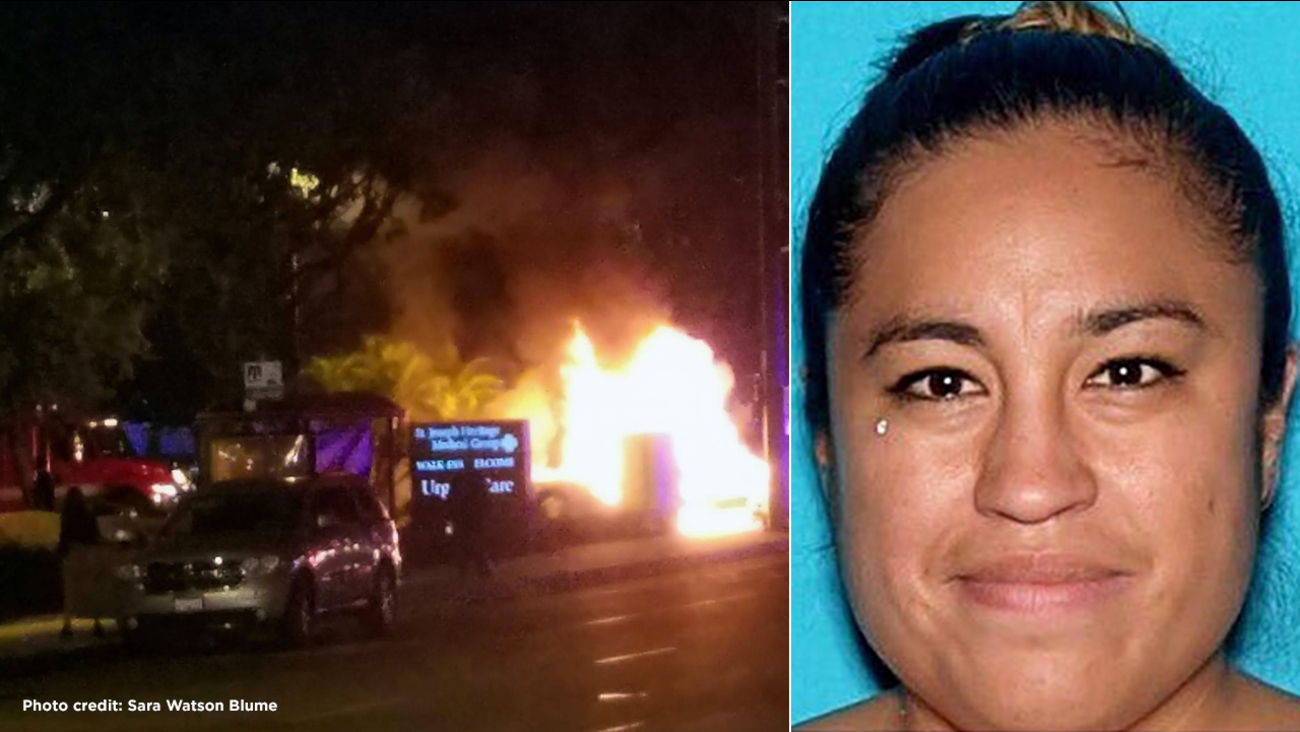 (L) The scene of a fiery triple-car crash in Orange Thursday, May 12, 2016. (R) Stephanie Marie De Rosas, 32, is seen in a CA DMV photo.