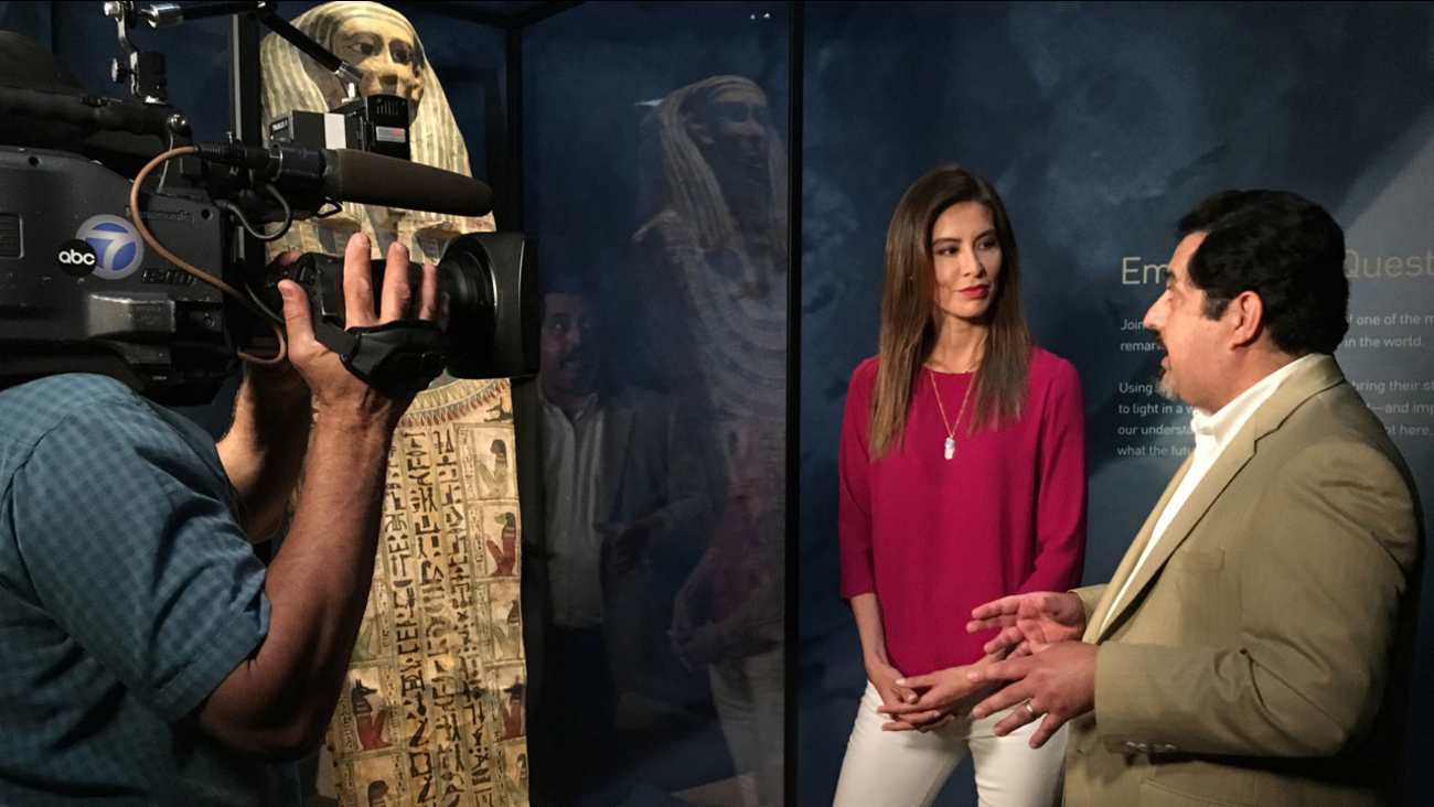 """Patricia Lopez looks at the """"Mummies of the World"""" exhibit at the Bowers Museum in Santa Ana for Vista L.A."""