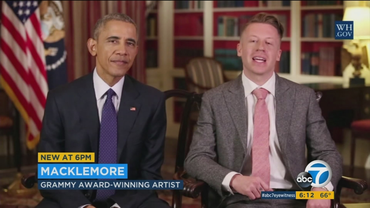 Rap artist Macklemore and President Barack Obama joined forces in the president's weekly address to reach out to opioid addicts.