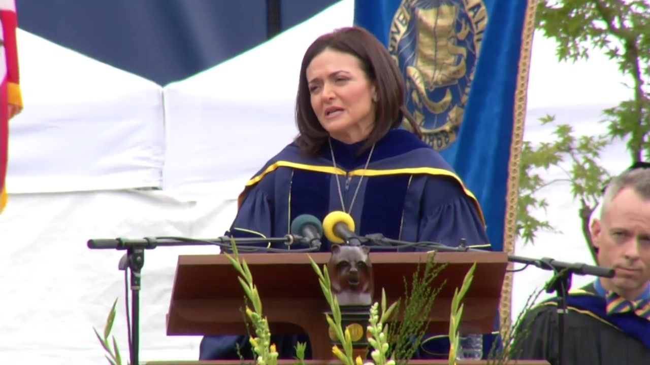This image shows Facebook Chief Operating Officer Sheryl Sandberg giving the commencement address at the University of California, Berkeley on May 14, 2016.