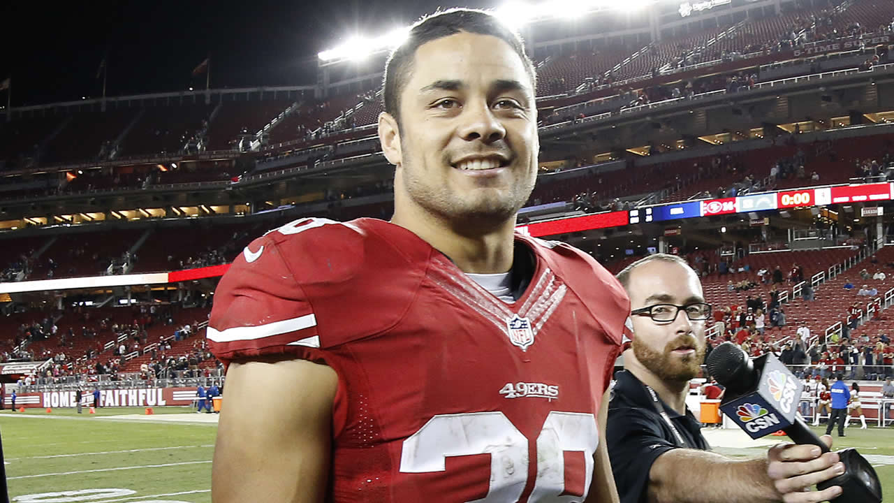 San Francisco 49ers running back Jarryd Hayne (38) walks off the field after an NFL preseason football game against the San Diego Chargers in Santa Clara, Calif., Thursday, Sept. 3, 2015. The 49ers won 14-12.