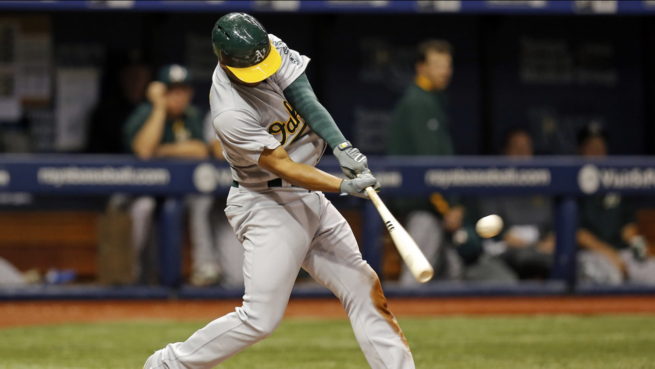 Athletics' Marcus Semien hits a home run during a baseball game on Friday, May 13, 2016, in St. Petersburg, Fla. (AP Photo/Mike Carlson)