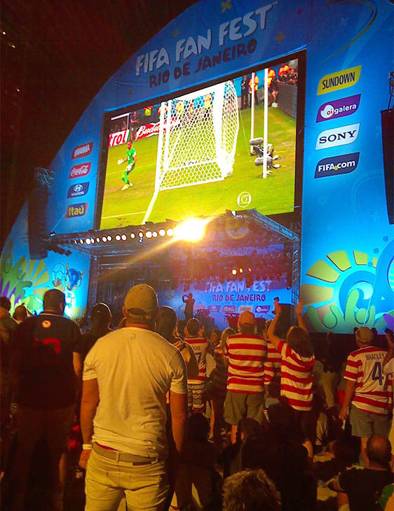 """<div class=""""meta image-caption""""><div class=""""origin-logo origin-image """"><span></span></div><span class=""""caption-text"""">Lines into the Copacabana Fan Zone were halted for several minutes after large crowds rushed to see the match. (ABC Photo/ Karina Vigo)</span></div>"""