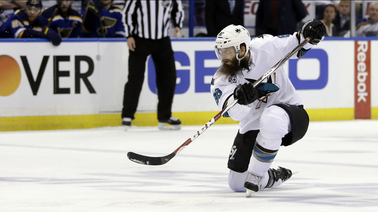 Sharks' Brent Burns is seen during the second period in Game 2 of the NHL hockey Stanley Cup Western Conference finals, Tuesday, May 17, 2016, in St. Louis. (AP Photo)