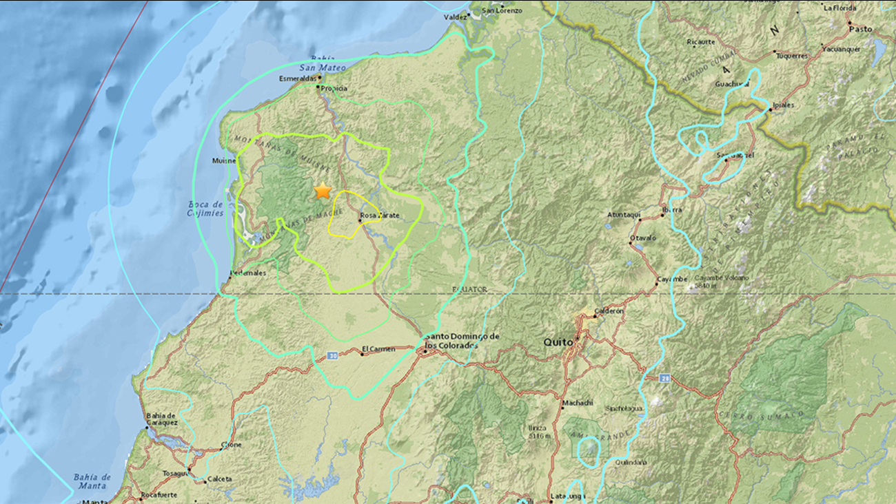 The United States Geological Survey said a 6.8-magnitude earthquake struck 14.9 miles northwest of Rosa Zarate, Ecuador on Wednesday, May 18, 2016.
