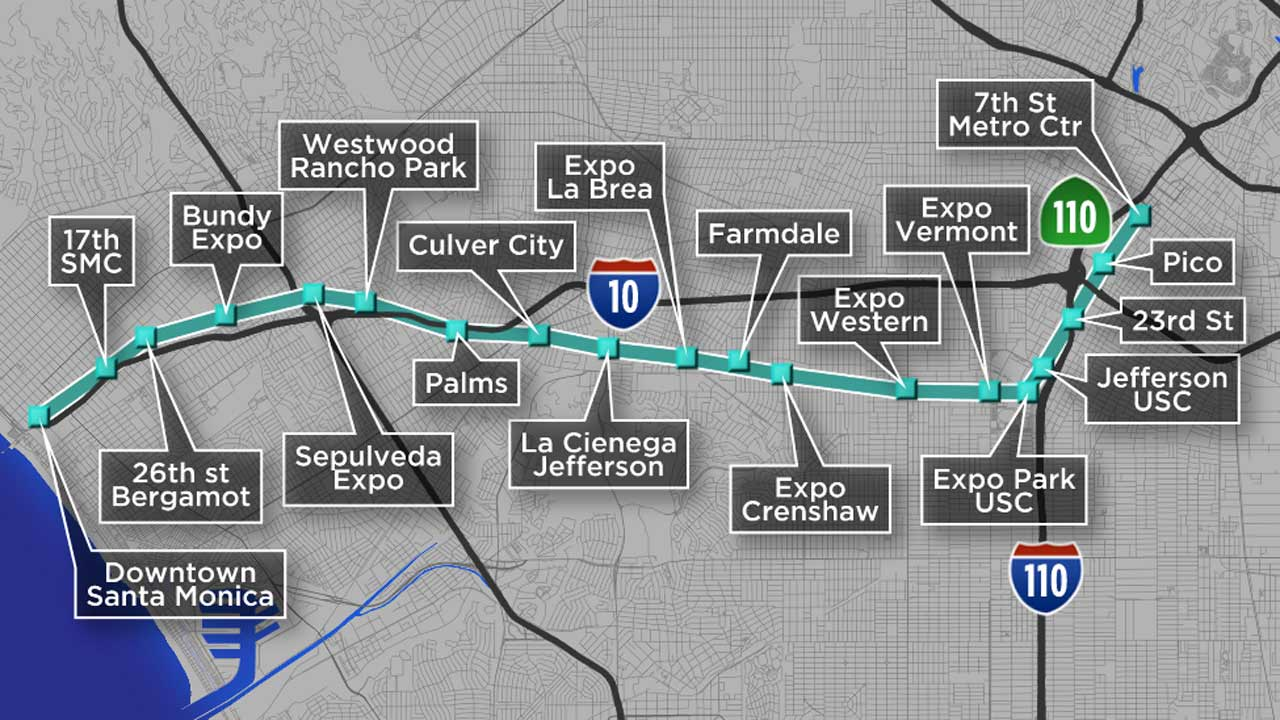 Santa Monica Subway Map.Metro To The Beach What You Need To Know About The Expo Line
