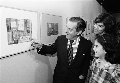 "<div class=""meta image-caption""><div class=""origin-logo origin-image ap""><span>AP</span></div><span class=""caption-text"">Television newsman Morley Safer points to one of his watercolors as wife Jane and daughter Sarah look on, on Monday, Sept. 22, 1980. (AP Photo/ Richard Drew)</span></div>"
