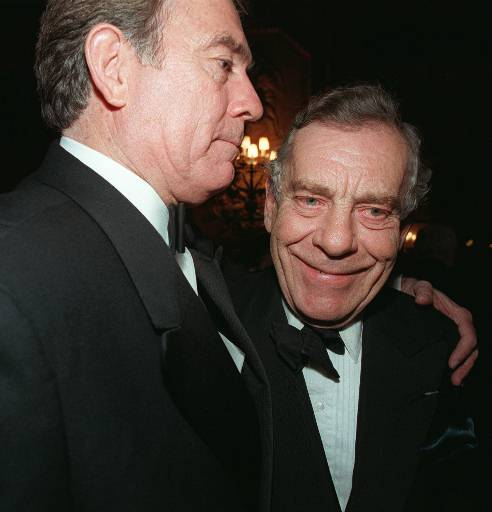 "<div class=""meta image-caption""><div class=""origin-logo origin-image ap""><span>AP</span></div><span class=""caption-text"">Dan Rather, left, is embraced by ""60 Minutes"" correspondent Morley Safer at a celebration to mark Rather's 15th anniversary as CBS Evening News anchor in New York March 6, 1996. (AP Photo/Anders Krusberg)</span></div>"