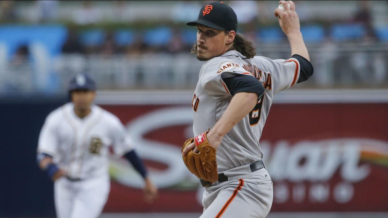Giants starting pitcher Jeff Samardzija throws against the San Diego Padres in the first inning of a baseball game Thursday, May 19, 2016 in San Diego. (AP Photo/Lenny Ignelzi)