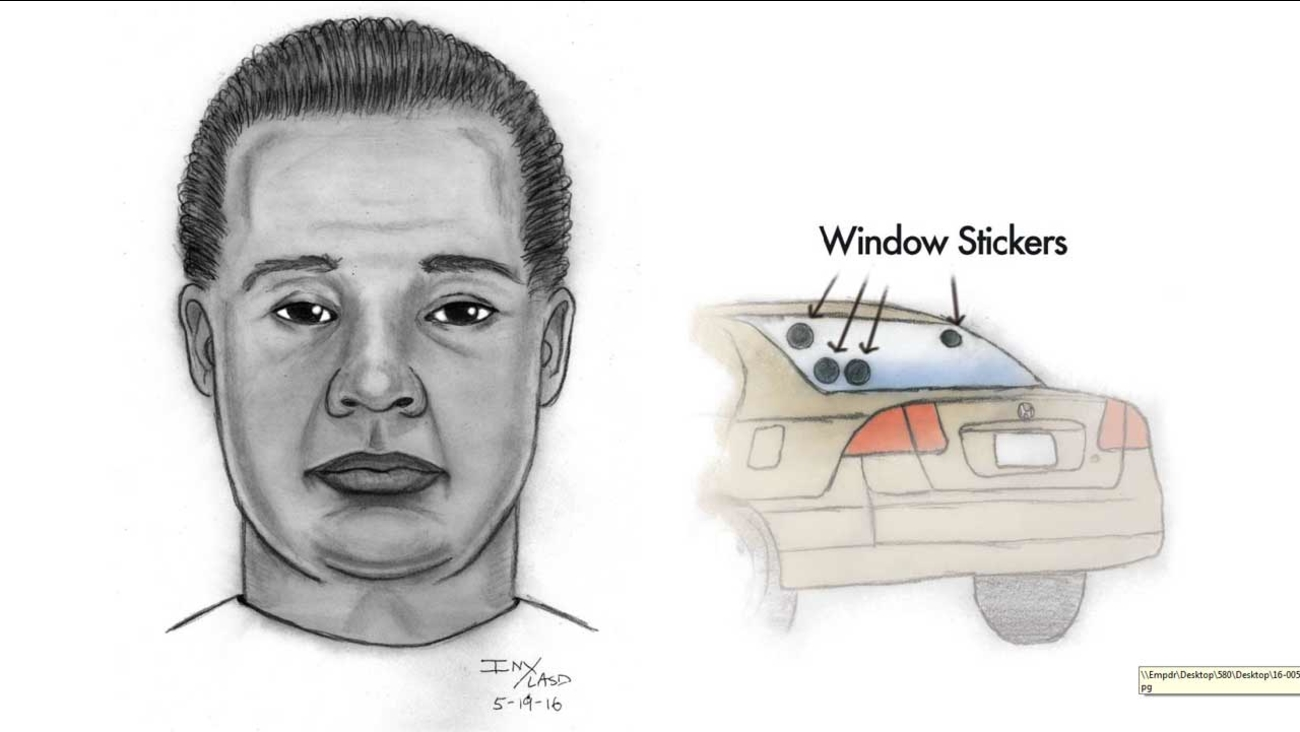 El Monte police released this sketch of a man wanted for trying to pick up a girl in his car and also sexually propositioning another girl in El Monte on Wednesday, May 18, 2016.