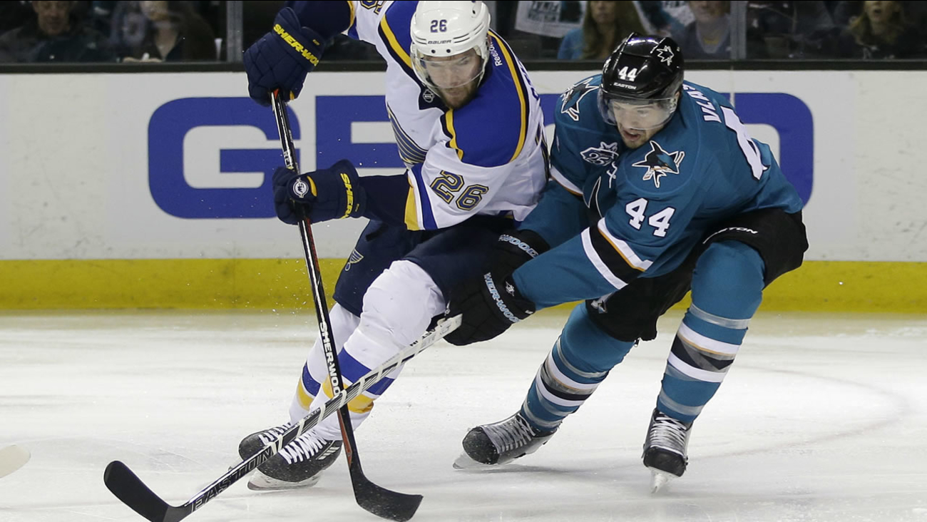 St. Louis Blues' Paul Stastny (26) is defended by San Jose Sharks' Marc-Edouard Vlasic (44) during Game 4 of the NHL hockey Stanley Cup Western Conference final May 21, 2016.