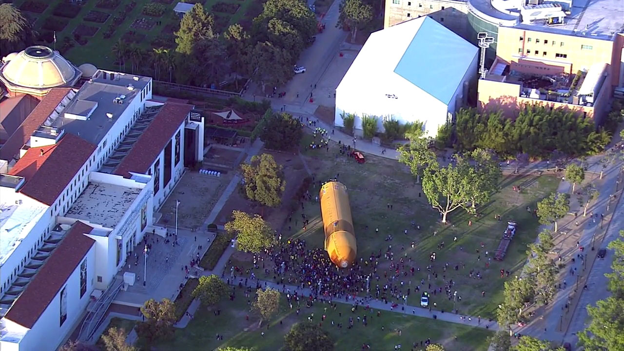 The space shuttle fuel tank ET-94 arrived at the California Science Center on Saturday, May 21, 2016.