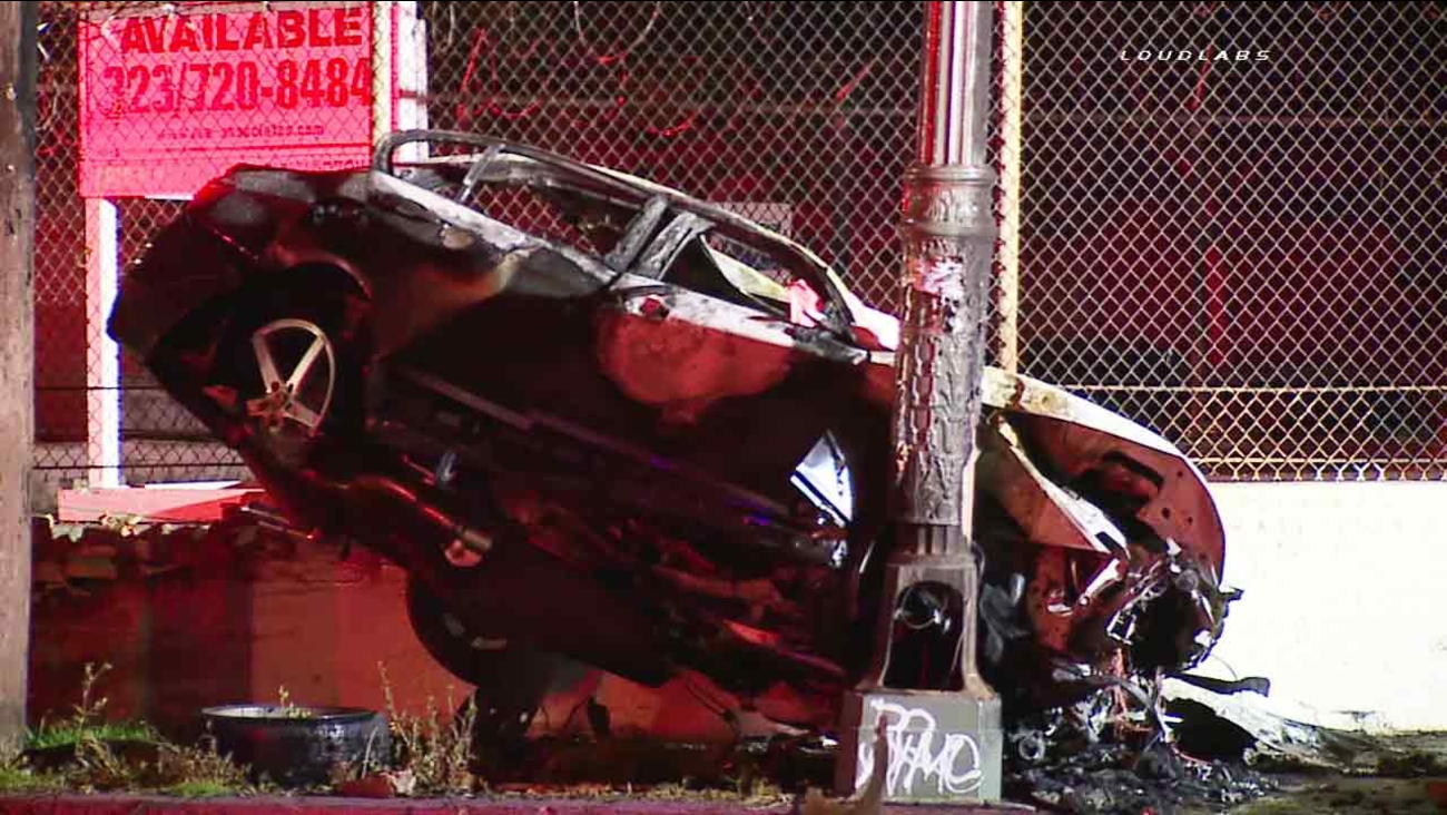 What is left of a deadly fiery wreck in Boyle Heights on Sunday, May 22, 2016.