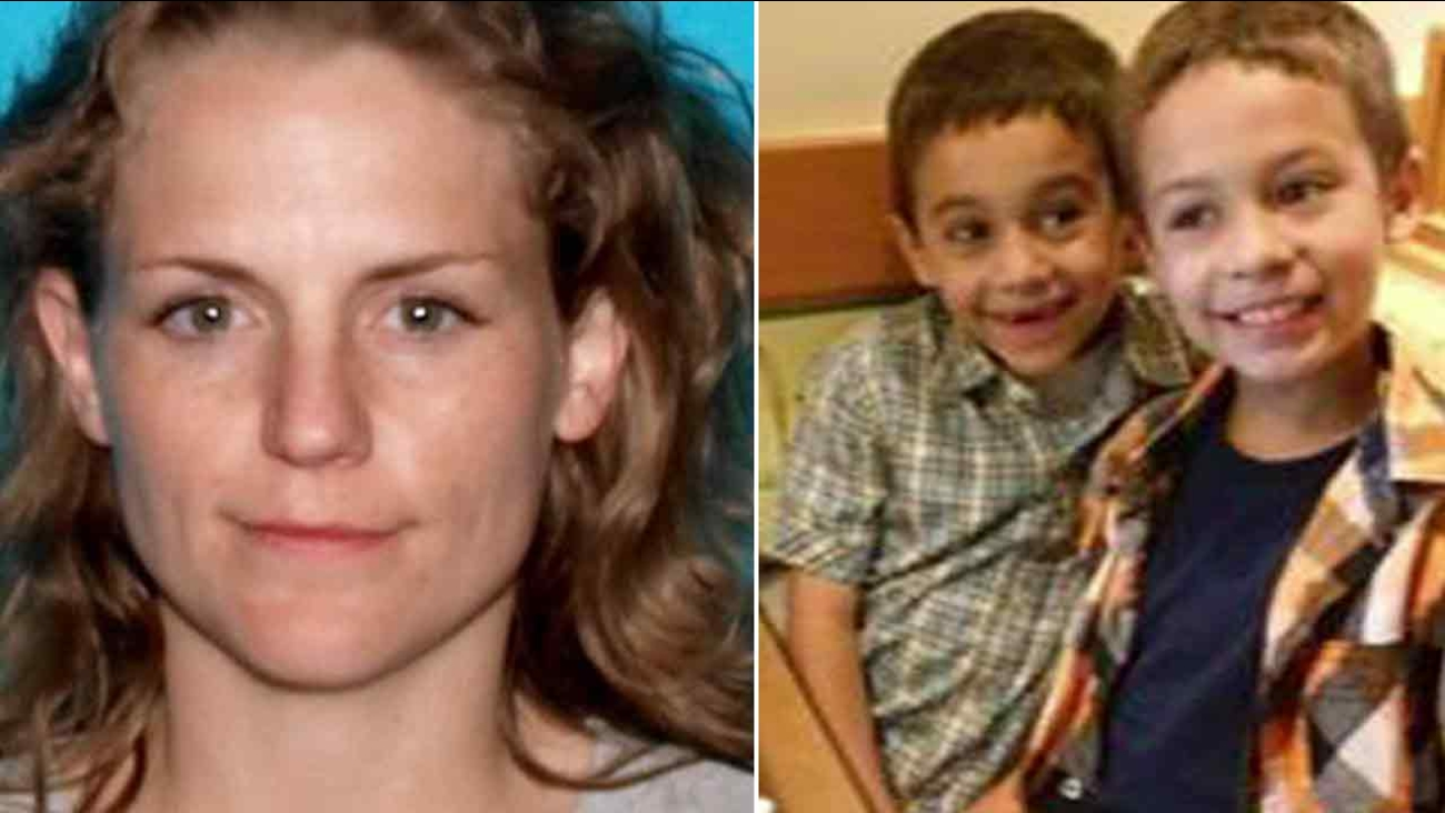 Emily Lynn Moon, 32, (left) is seen in an undated photo, along with a picture of her two sons (right).