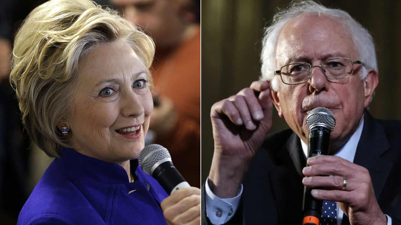 Hillary Clinton and Bernie Sanders are seen in undated file images.