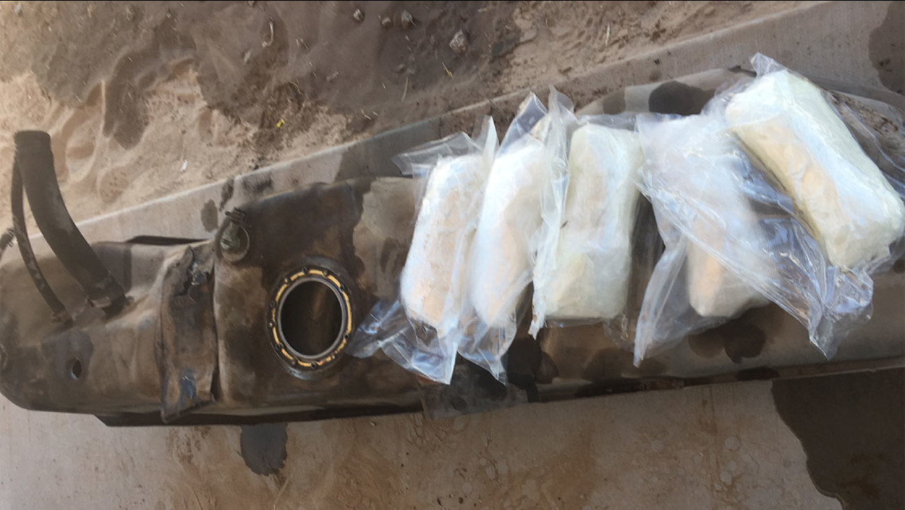 Border Patrol agents from the Indio Station discovered 28.12 pounds of methamphetamine stuffed inside the fuel tank of a 1999 Ford F-150 on Sunday, May 22, 2016.