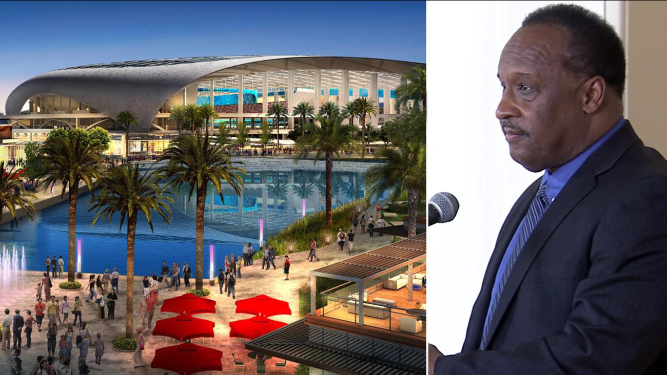 Inglewood Mayor James Butts said the city expects to be named the host of the 2021 Super Bowl during an event on Monday, May 23, 2016.