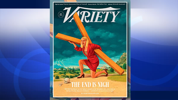 Variety ran a controversial magazine cover showing Yahoo's embattled CEO, Marissa Mayer, depicted as Jesus Christ.
