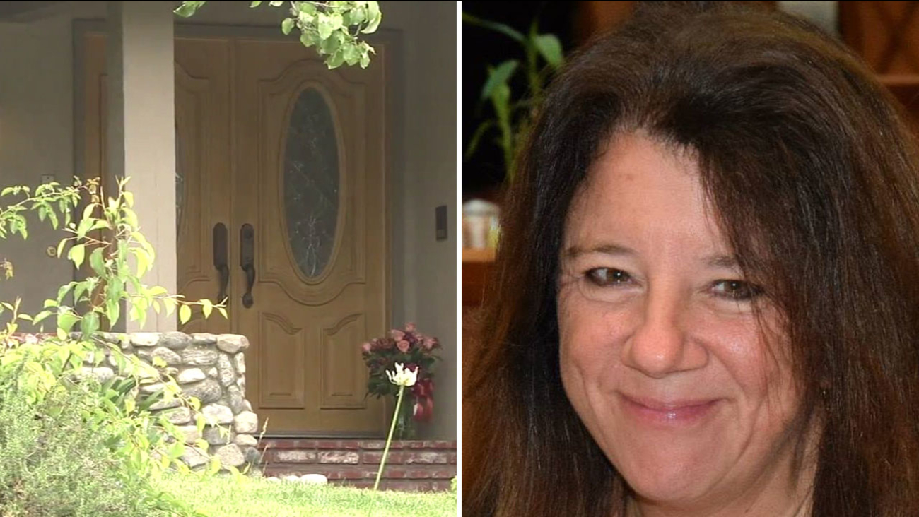 Connie Cajulis, 53, is shown in an undated photo alongside a memorial set up outside of her West Hills home on Wednesday, May 25, 2016.