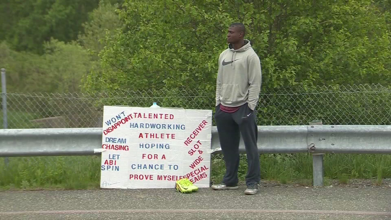 Patriot hopeful stands outside stadium to get tryout