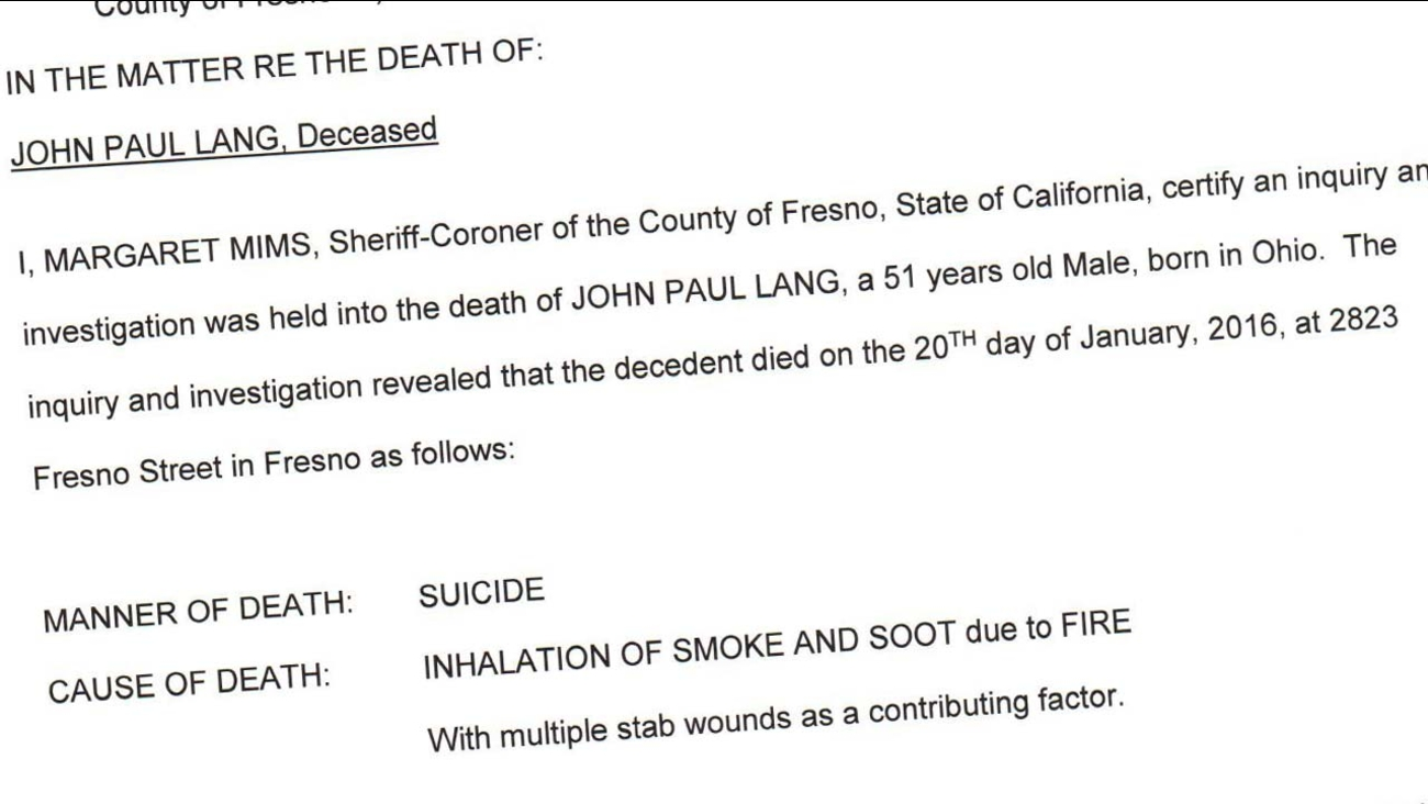 Final Coroner's report on the suicide of John Lang