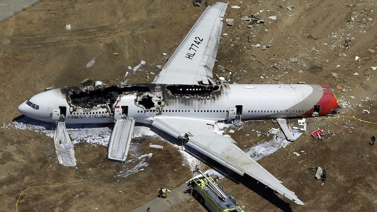 In this July 6, 2013 aerial photo, the wreckage of Asiana Flight 214 lies on the ground after it crashed at the San Francisco International Airport. (AP Photo/Marcio Jose Sanchez, file)