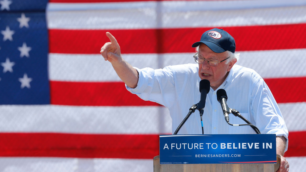 Democratic presidential candidate Sen. Bernie Sanders, I-Vt., speaks during a campaign rally in Cathedral City, Calif., Wednesday, May 25, 2016.