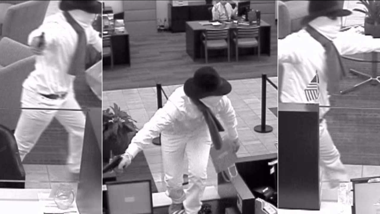 A bank robbery suspect clad in a white jumpsuit is seen in surveillance images from a heist at a Bank of the West branch in Sierra Madre on Wednesday, May 25, 2016.