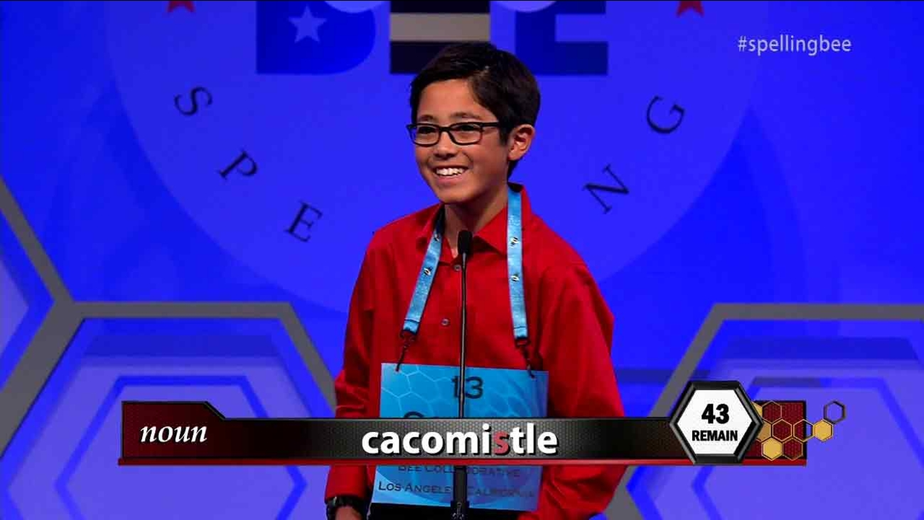 Cooper Komatsu, a 13-year-old at Culver City Middle School, competes at the 89th Scripps National Spelling Bee on Thursday, May 26, 2016.