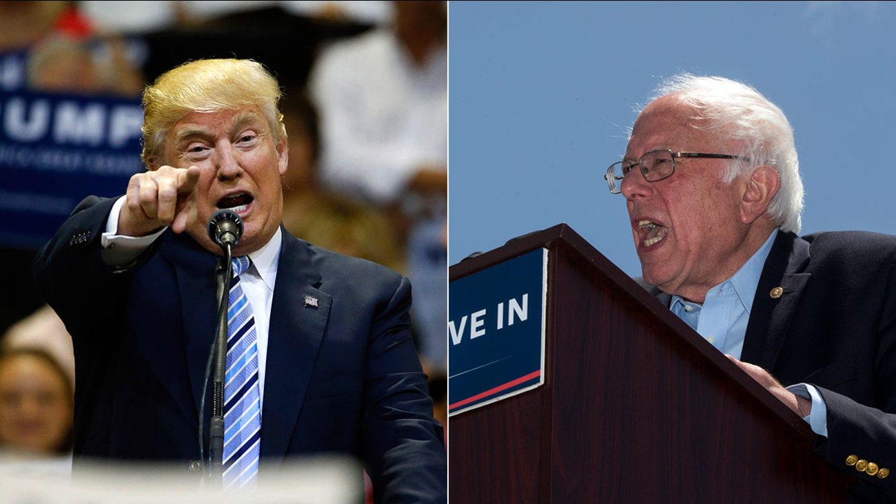 (L) Donald Trump at a rally in Billings, Mont., Thursday, May 26, 2016. (R) Bernie Sanders at a rally in Ventura, Calif., Thursday, May 26, 2016.