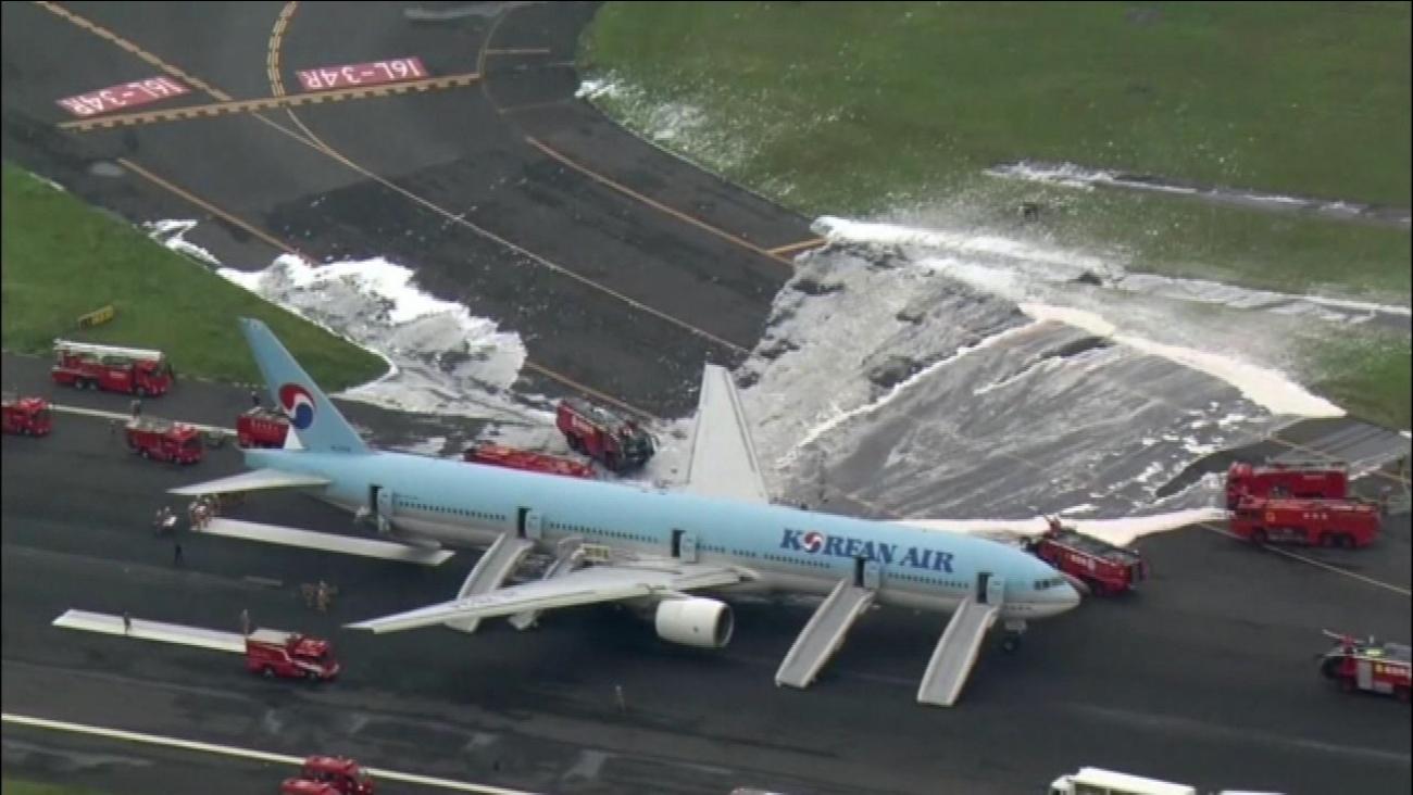 Korean Air jet has engine fire in Tokyo, people evacuated