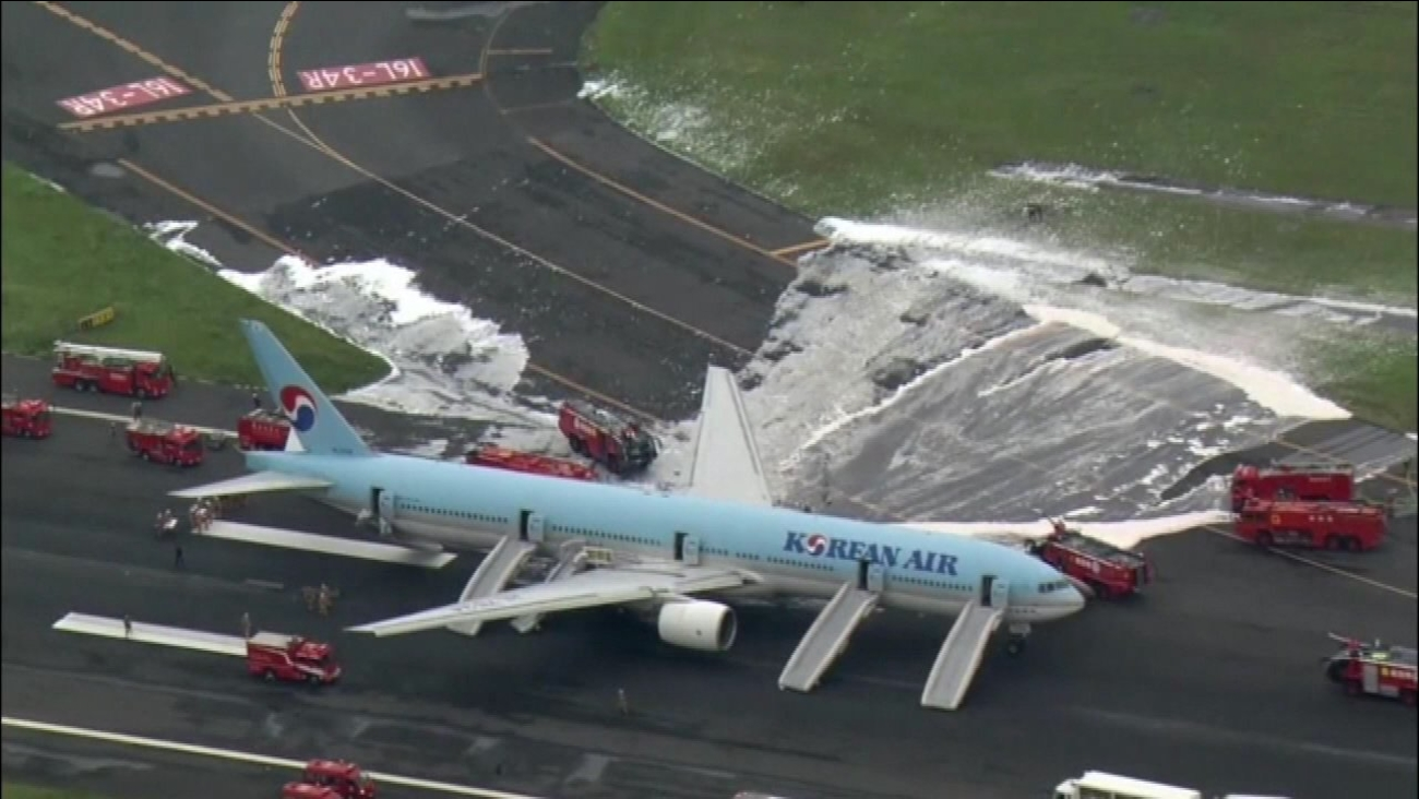 Korean Air jet has engine fire in Tokyo, people evacuated